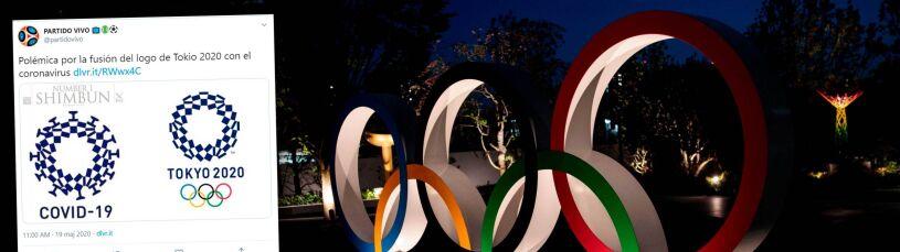 Logo igrzysk połączone z koronawirusem.