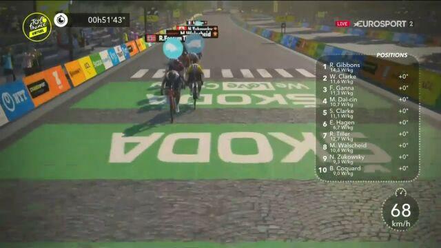 Awatar się zatrzymał i nie chciał jechać. Ciekawie na finałowym etapie Wirtualnego Tour de France