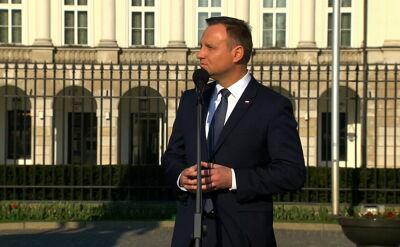 Początek przemówienia Andrzeja Dudy