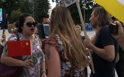 Przepychanki na proteście w Wilnie
