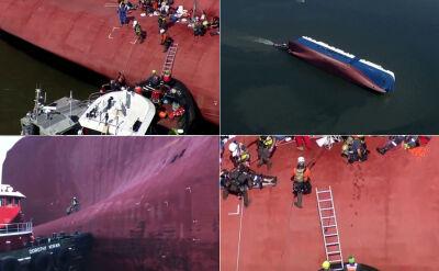 Akcja ratunkowa na przewróconym statku. Ostatni z uwięzionych spędził pod pokładem 35 godzin