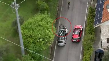 Kolarz potrącony przez samochód rywali na Giro.