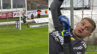 Piękny gol z połowy boiska w lidze szwedzkiej.