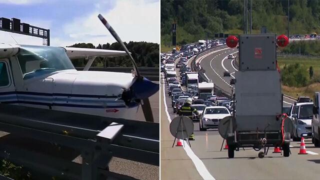 Ogromny korek na chorwackiej autostradzie. Na jezdni awaryjnie lądował samolot