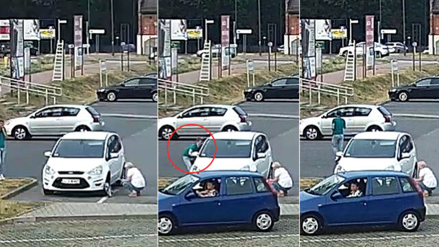 Kierowca ogląda koło,  złodziej wyciąga torebkę z auta