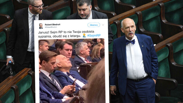 Czy Janusz Korwin-Mikke spał podczas inauguracyjnego posiedzenia Sejmu?