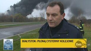 Marcin Janowski o utrudnieniach w okolicy pożaru (TVN24)