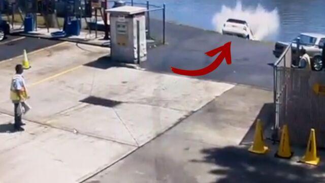 Pomyliła hamulec z gazem. Wpadła do wody