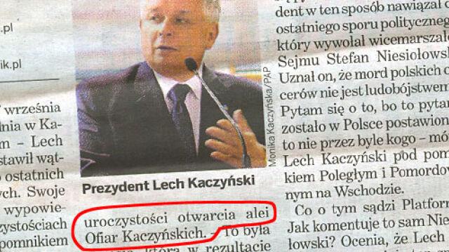 """""""Dziennik"""": prezydent otworzył Aleję Ofiar Kaczyńskich"""