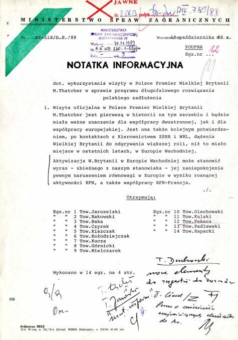 Notatka informacyjna dotycząca wykorzystania wizyty w Polsce Premier Wielkiej Brytanii M. Thatcher w sprawie programu długofalowego rozwiązania polskiego zadłużenia, 8 października 1988 r., str. 1