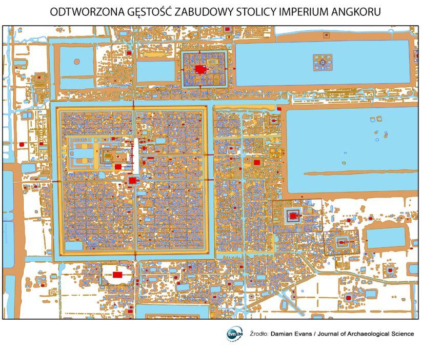 Odtworzona gęstość zabudowy stolicy Imperium Angkoru