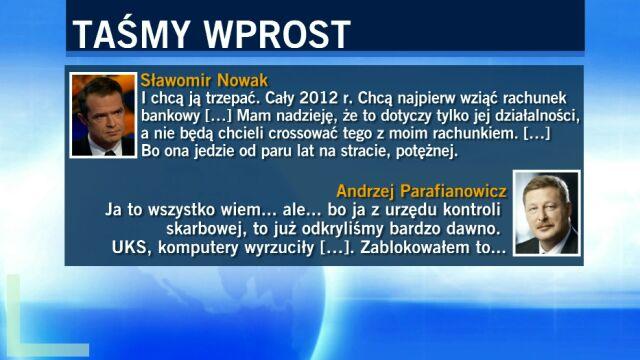 Rozmowa Nowaka z Parafianowiczem o kontroli finansów żony byłego ministra