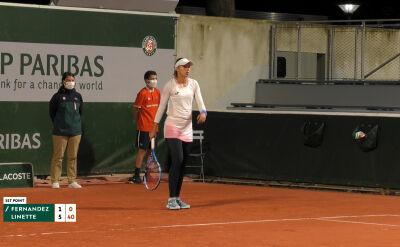 Linette wygrała 1. seta w starciu z Fernandez w 1. rundzie Roland Garros