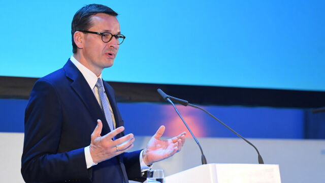 Polish Prime Minister Mateusz Morawiecki during the European Forum for Science, Research and Innovation in Dresden, Germany