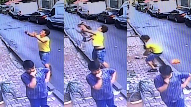 Złapał dziewczynkę, która wypadła z okna