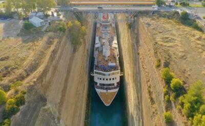 Kanał Koryncki i przeprawa 22-metrowego kolosa