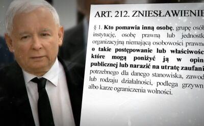 Kaczyński zgłasza skargę z art. 212