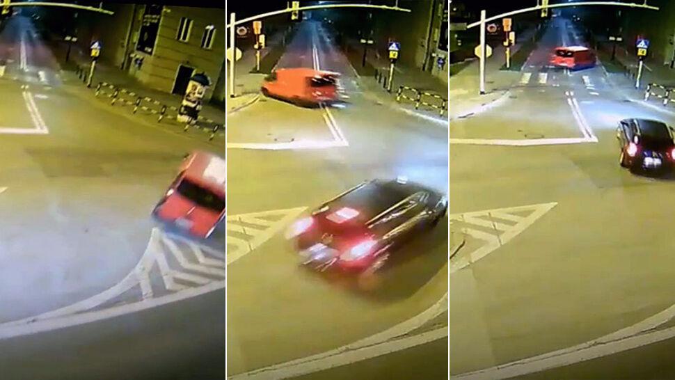 Obijał się o latarnie i drzewa, skończył na śmietniku.  14-latek za kierownicą auta dostawczego