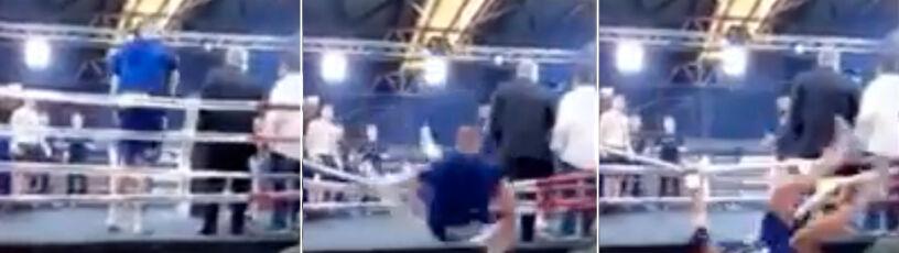 Liny nie wytrzymały, pięściarz wypadł z ringu. Walkę o tytuł odwołano