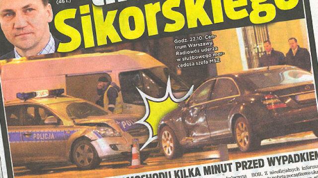 Policja rozbiła auto ministra Sikorskiego