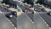 Potrącona kobieta na przejściu dla pieszych. Przechodziła na czerwonym