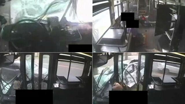 Pasażerowie latali po wnętrzu niczym lalki. Zderzenie osobówki z autobusem