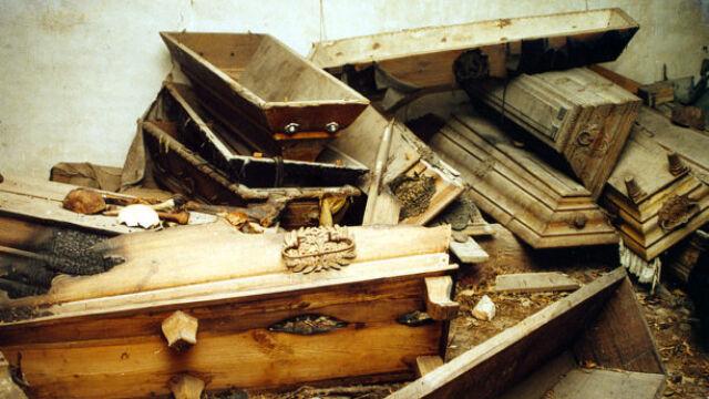 Tajemnica skrywana za murami kościoła:  otwarte trumny, zwłoki na drzewie