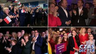 Brawa, okrzyki i całusy. Zobacz pierwsze reakcje w sztabach wyborczych