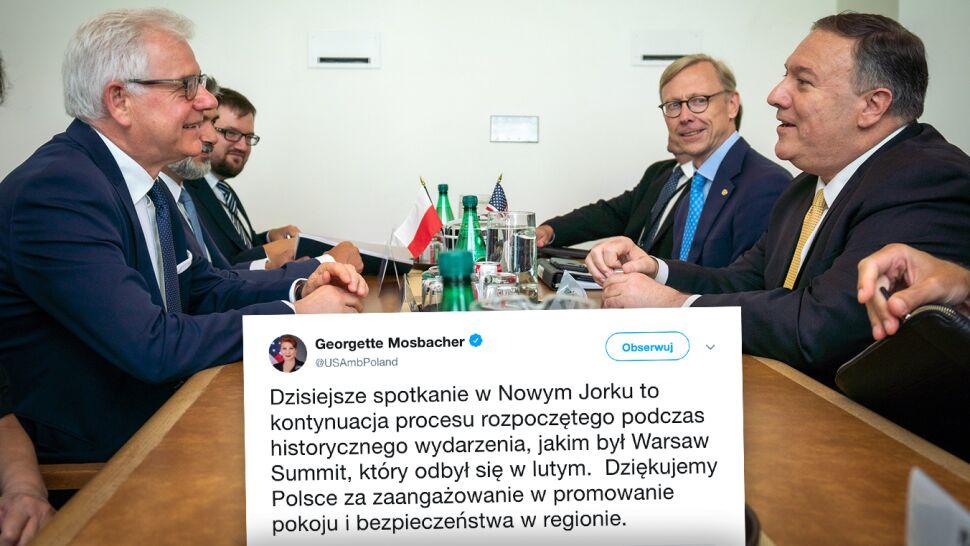 """Mosbacher dziękuje Polsce, Pompeo nazywa Czaputowicza """"prawdziwym przyjacielem"""""""