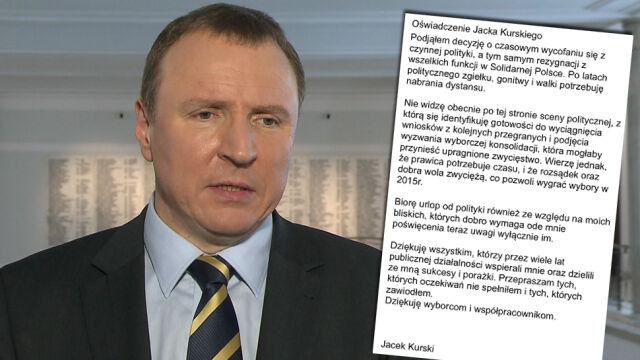 """Jacek Kurski rezygnuje z polityki. """"Czasowo"""""""