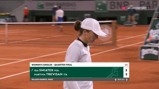 Świątek odrobiła straty w pierwszym secie w ćwierćfinale Roland Garros