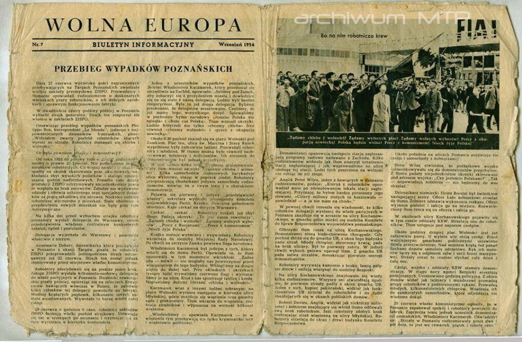 Część tytułowej strony biuletynu informacyjnego Wolna Europa z września 1956 r.