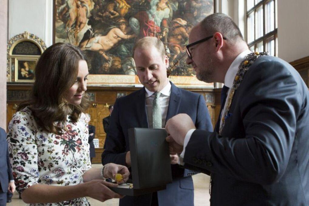 Paweł Adamowicz spotkał się z parą książęcą Cambridge Williama i Kate w Gdańsku