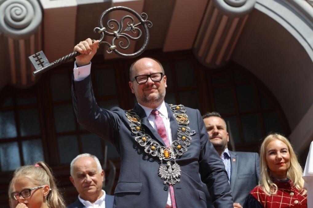 Prezydent Gdańska Paweł Adamowicz podczas ceremonii otwarcia Jarmarku św. Dominika