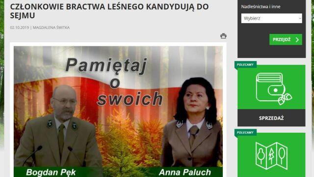 """Kandydaci PiS na stronie Lasów Państwowych. """"To tylko informacja"""""""