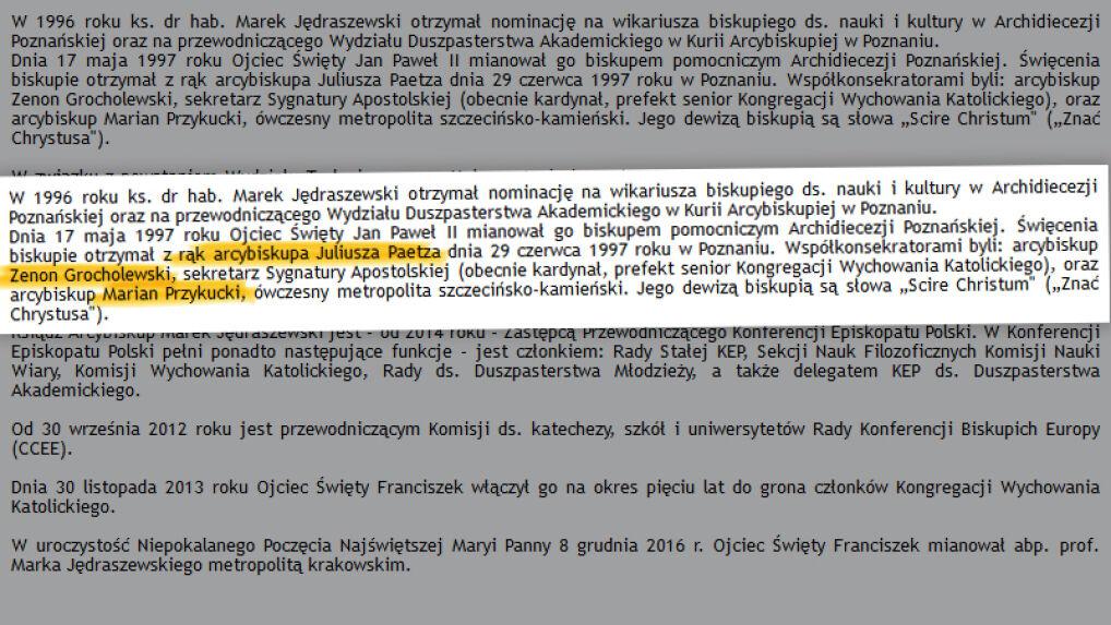Biogram Marka Jędraszewskiego na stronie Archidiecezji Krakowskiej, luty 2017