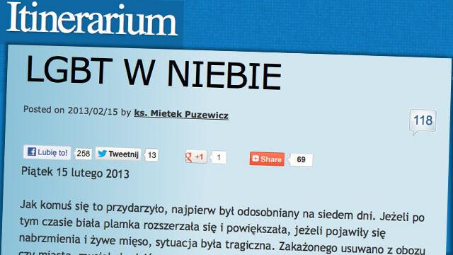 Ksiądz na blogu o gejach i lesbijkach. Terlikowski: To homoherezja