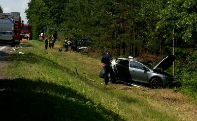 Zderzenie samochodów na trasie Białystok-Augustów