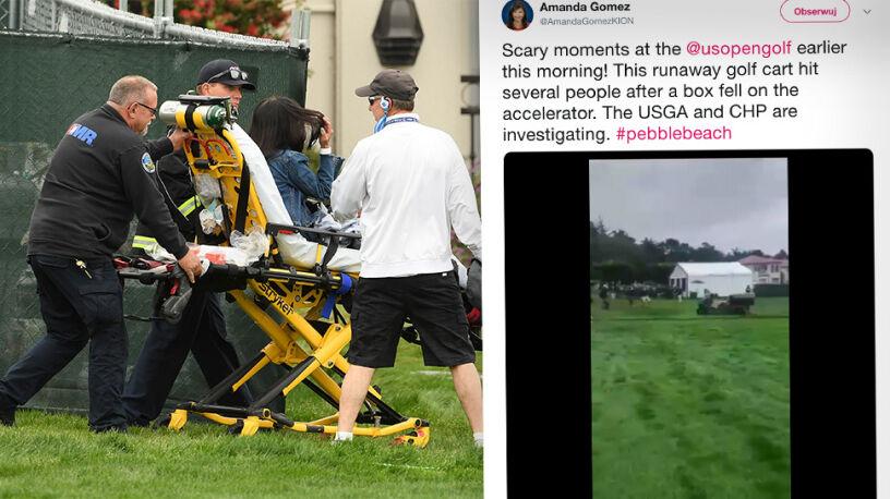 Wózek wjechał w kibiców. Panika na polu golfowym