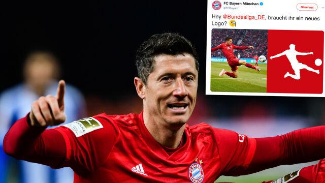 """Nietypowa propozycja z udziałem Lewandowskiego. """"Hej, Bundesligo, potrzebujesz nowego logo?"""""""