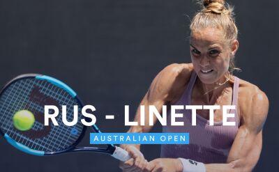 Skrót meczu Linette - Rus w 1. rundzie Australian Open