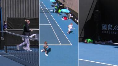 Dziewczynka słabnie, tenisiści biegną na pomoc.