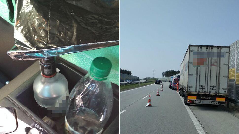 Slalomem, obijając barierki. Kierowca ciężarówki  kompletnie pijany, w kabinie niedopita wódka