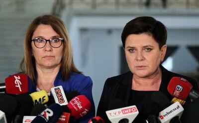 Wicepremier Beata Szydło odpowiada na pytanie o prezentację projektu nowelizacji Prawa oświatowego