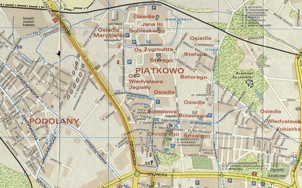 Piątkowo na planie miasta z 1991 r.