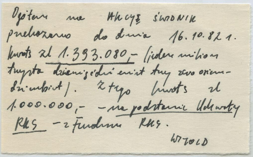 """Jedna z notatek dotyczących akcji """"Świdnik"""", w ramach której milion z 80 milionów przekazano na pomoc ludziom wrzuconym z pracy w WSK Świdnik. Napisał ją Józef Pinior, """"Witold"""" był jednym z jego pseudonimów"""