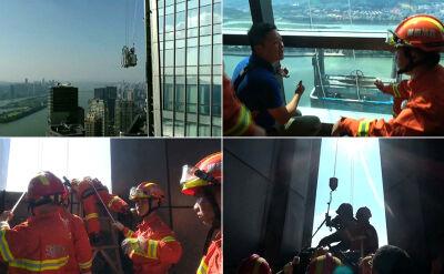 Uwięzieni przy ścianie wieżowca ponad 50 pięter nad ziemią