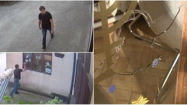 Kamieniem w gdańską synagogę. Policja publikuje nagranie z monitoringu i szuka sprawcy