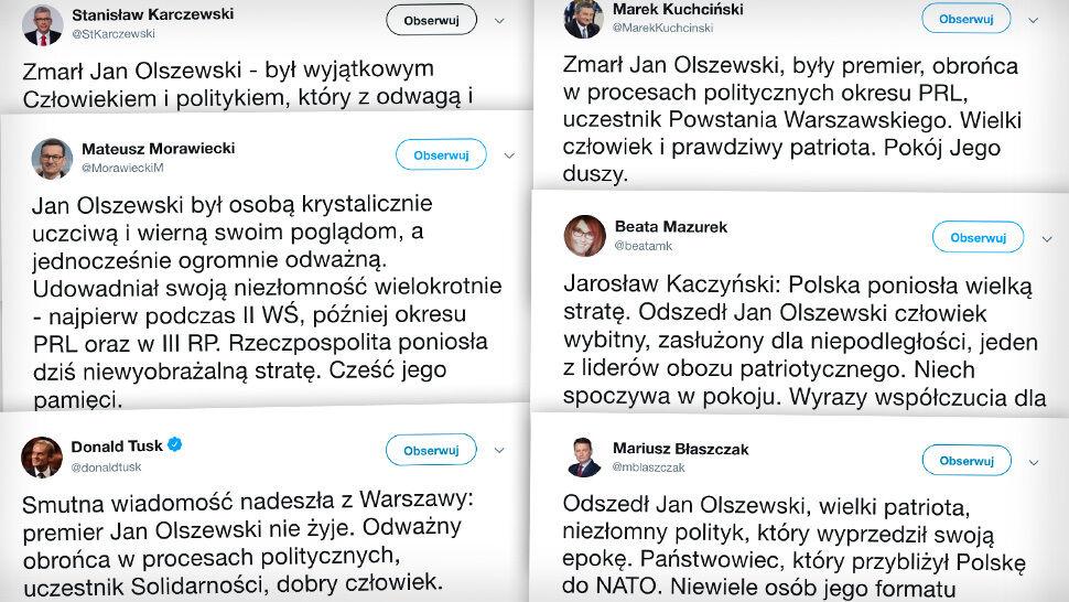"""""""Niezłomny polityk"""", """"patriota"""", """"odważny obrońca"""". Politycy żegnają Jana Olszewskiego"""