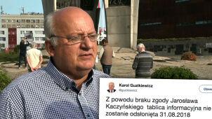 Nie odsłonią tablicy poświęconej Kaczyńskim. Przez